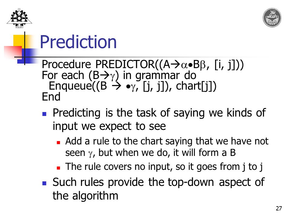 Prediction Procedure PREDICTOR((AB, [i, j]))